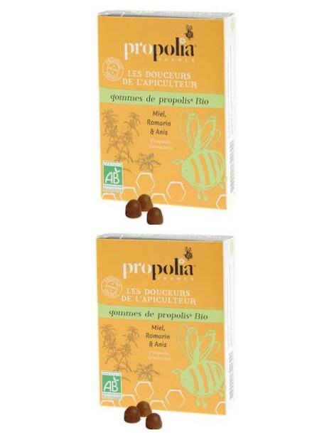 Gommes Propolis Romarin bio lot de 2 boites de 45g Propolia