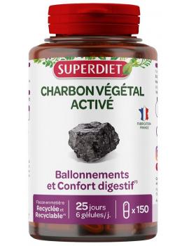 Charbon vegetal activé 150 gelules de 200mg Super Diet