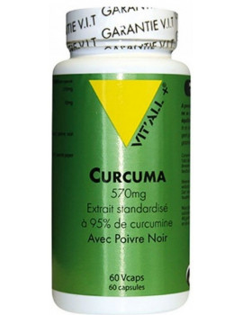 Curcuma Poivre noir 60 gelules Vcaps Vit'all +