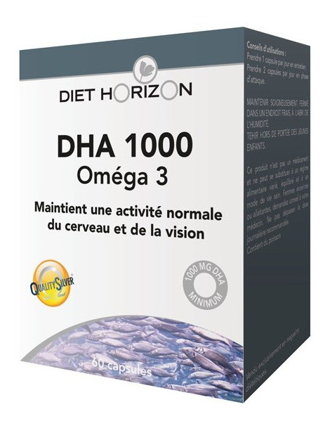 DHA 1000 Oméga 3 Diet Horizon - 60 capsules EPA DHA Abcbeauté