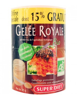 Gelee Royale bio Pot 25g Super Diet dont 15 pour cent gratuit