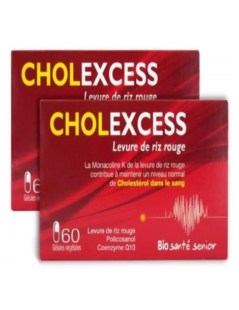 Cholexcess levure de riz rouge  lot de 2 boites 60 gélules Bio Santé Senior