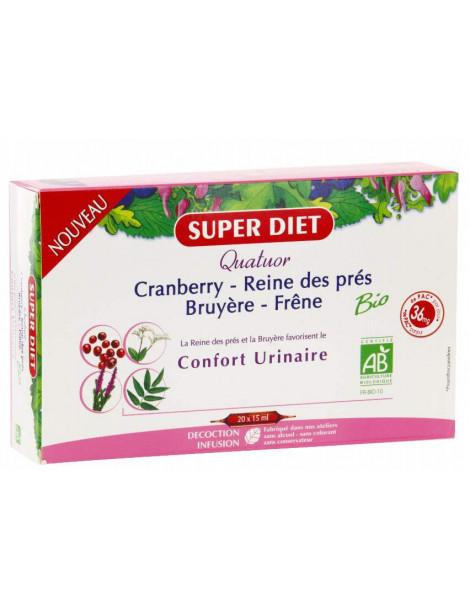 Quatuor Reine des prés Bruyère cranberry Bio 20 ampoules de 15ml Super Diet