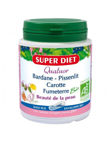 Quatuor Bardane Pissenlit Carotte Fumeterre bio 150 gelules Super Diet