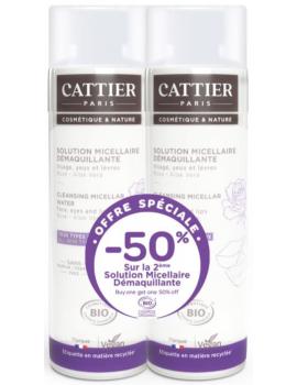 2 solutions micellaires offre spéciale 50% sur la deuxième - Cattier