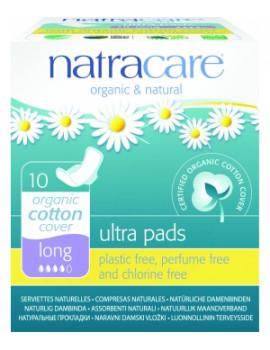 Serviettes ultra longues à ailettes Lot de 10 Natracare - lot de protections hygiéniques très couvrantes