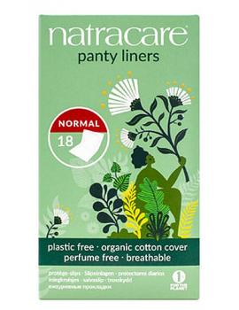 18 protèges slip coton bio naturels incurvés emballés Natracare - produit d'hygiène féminine