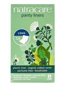 16 protèges slip naturels incurvés longs 16 unités Natracare - produit d'hygiène féminine