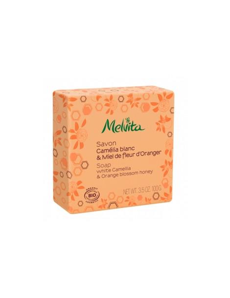 Savon Camélia blanc et miel de fleur d'oranger 100g Melvita - savon bio hydratant