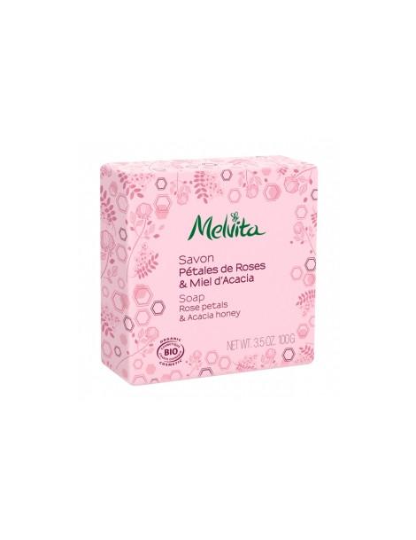 Savon Pétales de rose et miel dacacia  100g Melvita - savon bio pour peaux sensibles et dévitalisées