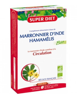 Marronnier d'Inde Hamamélis Bio 20 ampoules de 15 ml Super Diet - complément alimentaire bio