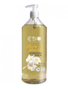 Shampooing douche Fleurs Blanches 1 Litre C'bio - produit d'hygiène bio pour le corps et les cheveux