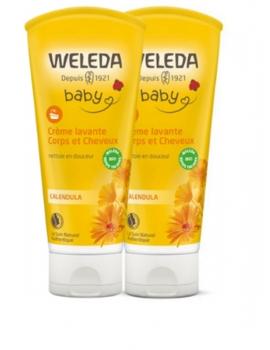 Duo crème lavante corps et cheveux au Calendula bébé 2 x 200 ml Weleda - produit d'hygiène pour le corps