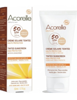 Crème Solaire teintée SPF 50 50 ml Acorelle  - cosmétique biologique