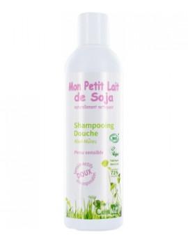 Gel douche corps et cheveux Peau sensible Kiwi mûres  250ml Mon Petit Lait de  Soja - produit d'hygiène biologique