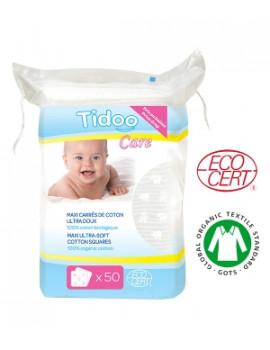 50 Maxi Carrés Coton Bio Ultra doux 100% biologique TidooCare - produit de nettoyage pour bébé