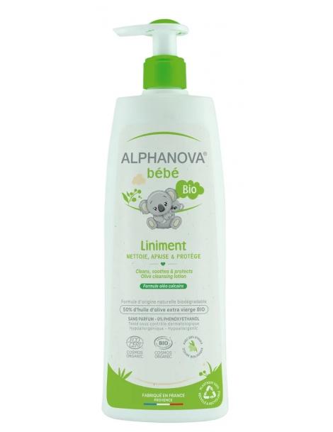Bio Liniment Oléo Calcaire 50% huile dOlive verte 500 ml Alphanova - produit d'hygiène bio pour le corps de bébé