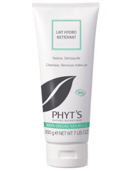 Lait hydro nettoyant 200 ml Phyts - produit démaquillant et nettoyant bio pour le visage
