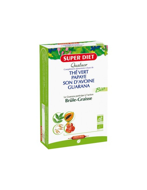 Quatuor brule graisse 20 ampoules de 15 ml Super Diet