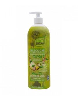 Gel douche Thé vert format familial 1 litre Bio Seasons - cosmétique bio abcbeauté