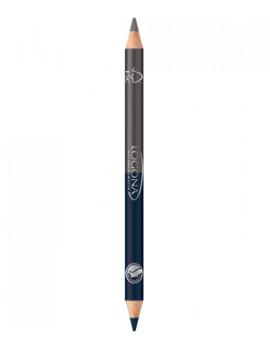 Crayon à paupières bois duo n°4 Steel Grey 1.38g Logona - produit de maquillage bio abcbeauté