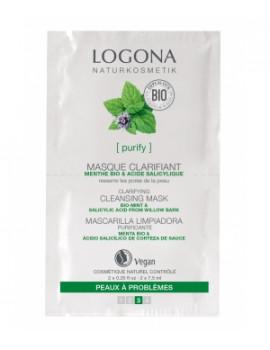 Masque nettoyant et clarifiant Menthe bio Acide salicylique  2 x 7,5 ml Logona - masque purifiant bio abcbeauté