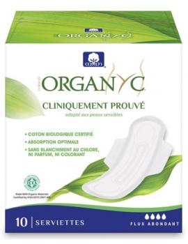 Serviettes ultra fines Flux abondant 10 unités Organyc - produit d'hygiène féminine abcbeauté