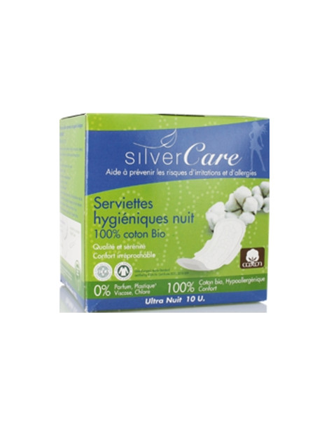 Serviettes nuit 100% coton bio Ultra minces avec ailettes  10 unités Silvercare - produit d'hygiène féminine abcbeauté