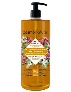 shampooing douche Miel Propolis 1L Cosmo Naturel - produit d'hygiène bio pour le corps