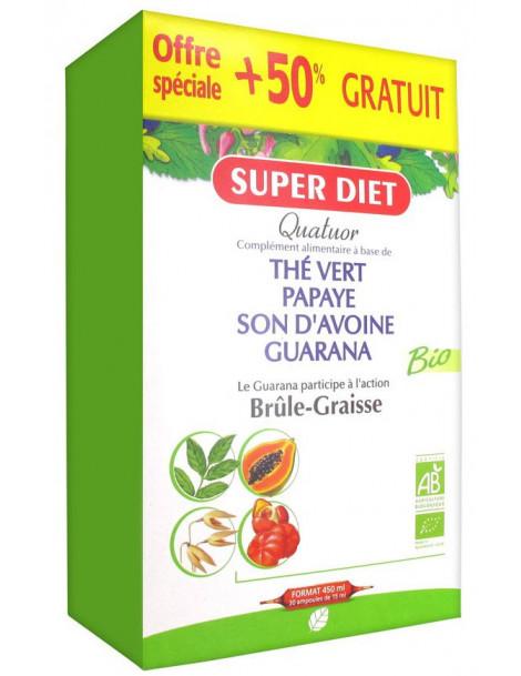 Quatuor brule graisse 20 ampoules de 15 ml + 50% gratuit Super Diet