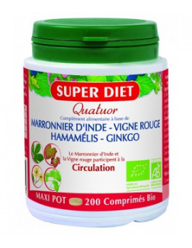 Quatuor Circulation bio - 200 comprimés de 400mg Super Diet abcbeaute