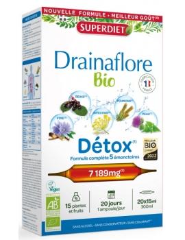 Drainaflore bio 20 ampoules Super Diet, draineur bio, detox bio, abcbeauté