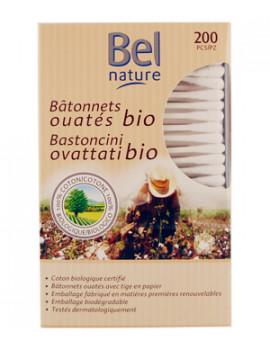 200 Bâtonnets d'oreille boîte distributrice coton bio BEL NATURE, coton tige bio, abcbeauté