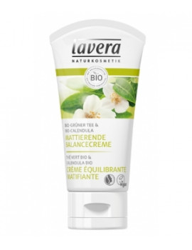 Crème équilibrante matifiante Thé vert bio 50 ml Lavera, crème peaux mixtes abcbeauté