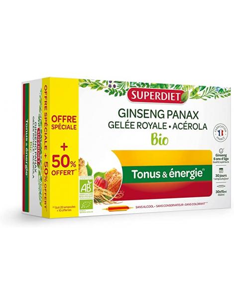 Super Diet Ginseng Gelee Royale Acerola bio 20 ampoules et 10 offertes