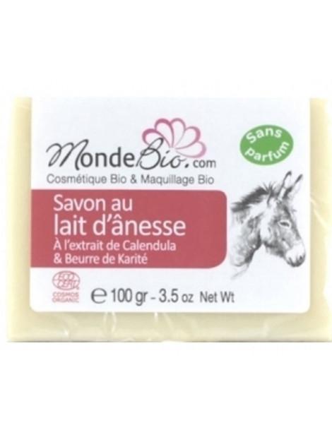 savon 40 % lait d'ânesse bio karite calendula 100 gr Le Monde du bio savon bio peaux sensibles et irritées Abcbeauté