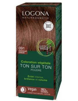 coloration végétale Ton sur Ton en poudre 091 Chocolat chaud 100 gr Logona Abcbeauté