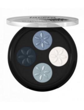 Fard à paupières Quattro Blue platinum 07  4x0.80 gr Lavera mineral eyeshadow Abcbeauté