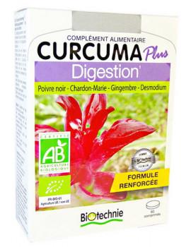 Curcuma Plus Digestion Bio 60 comprimés Biotechnie curcuma longa pipérine gingembre Abcbeauté