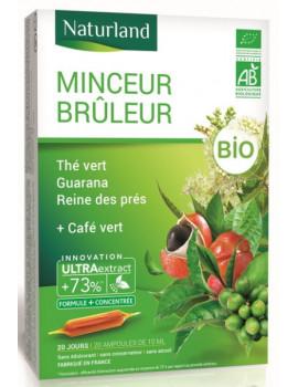 Minceur brûleur Thé Vert Café Vert guarana Reine des prés Bio 20 ampoules Naturland extrait fluide minceur Abcbeauté