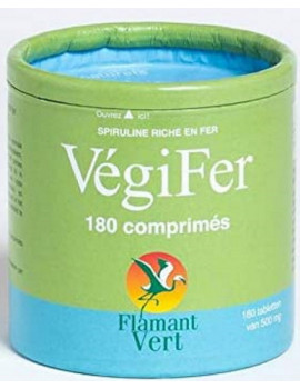 Vegifer Spiruline Fer 180 comprimés de 500mg Flamant Vert Abcbeauté