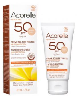Crème Solaire teintée SPF 50 clair 50ml Acorelle  - cosmétique biologique maquillage bio Abcbeauté