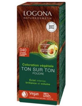 Coloration végétale Ton sur Ton 040 poudre Cuivre flamme froid 100gr Logona soin colorant Abcbeauté