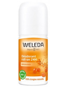 Déodorant roll on 24h Argousier 50ml Weleda senteurs mandarine et orange Abcbeauté