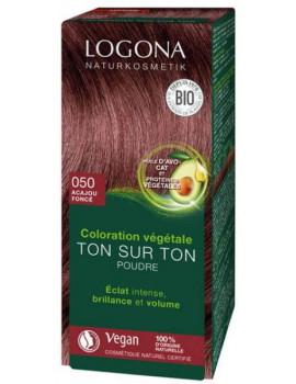 Coloration végétale Ton sur Ton Acajou foncé 050 100gr Logona soin colorant Abcbeauté
