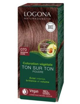 Coloration végétale Ton sur Ton en poudre 070 Marron doré 100g Logona soin colorant  Abcbeauté