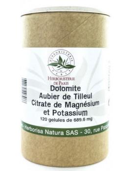 Dolomite Aubier de tilleul Citrates de magnésium et de potassium 120 Gélules Herboristerie de Paris