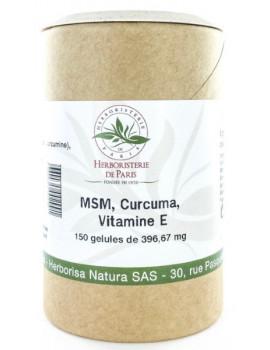 M.S.M Curcuma Vitamine E 150 gélules Herboristerie de Paris articulations méthyl sulfonyl méthane Abcbeauté