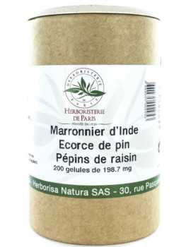 Marronnier d'Inde OPC Pin Raisin Vitamine E 200 Gélules Herboristerie de Paris protection circulation Abcbeauté