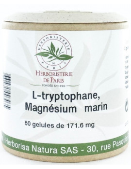 L Tryptophane Magnésium marin Vitamines E B6 60 Gélules Herboristerie de paris